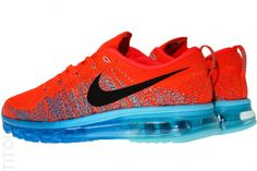 Nike Flyknit Max - Bright Crimson Air Max Sneakers, Sneakers Nike, Nike Free Flyknit, Nike Air Max, I Shop, Bright, Shopping, Shoes, Fashion