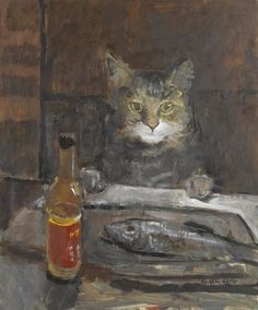 "Ruskin Spear's, ""Cat At A Table""."