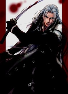 Sephiroth drawing with red border and bloody Masamune.  If he were chasing me, I probably wouldn't run...