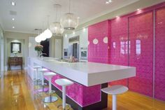 [Kitchen] : Awesome Plus Enticing Modern Pink Kitchen Colors Along With Five White Bar Stools Plus Five Hanging Lamps Also With Laminate Flooring Pink Kitchen Designs, Kitchen Colors, Design Kitchen, Pink Kitchen Inspiration, Home Bar Plans, White Kitchen Interior, Kitchen White, Pink Dining Rooms, Kitchen Photos