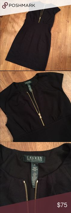 """Ralph Lauren dress Super classy dress....It is sure to impress! Gold zip front adds a beautiful touch. Length: 35"""" I wore this once. Offers welcomed! Ralph Lauren Dresses Midi"""