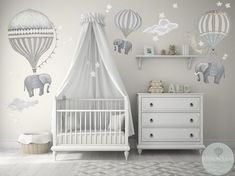 Med Set 3 Elephants Hot Air Balloons Neutral 2 Clouds stars moon nursery baby hand painted look movable fabric Wall decals