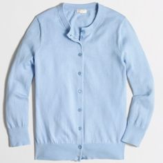 New Item . J. Crew Clare Cardigan Color: Light Sky.                                                          Cotton. Fitted. Hits at hip. Three-quarter sleeves. Rib trim at cuffs and hem. Machine wash.                                                               Factory Brand . #44 J. Crew Sweaters Cardigans