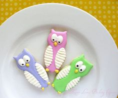 Owl Animal Cookies Birthday Party Decorated Royal Icing Sugar Cookies