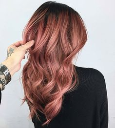 Dusty mauve, rose-gold waves. (Rose Gold Hair)