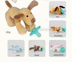 Bebé recién nacido Pacifier Lovely Baby juguete de felpa pezón de silicona BPA mordedor envío Dog elefante mono jirafa pato en Chupetes de Bebés en AliExpress.com | Alibaba Group
