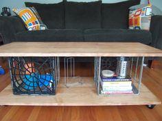 metal milk crate coffee table