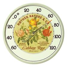 VINTAGE ANTIQUE STYLE INDOOR OUTDOOR FLORAL WALL THERMOMETER TEMPERATURE GAUGE