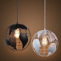 Modern pendant world map globe hanging lamp ceiling light chandelier wish modern globe pendant lights blackwhite color pendant lamps for barrestaurant gumiabroncs Images