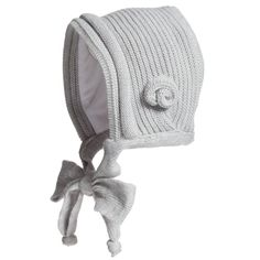 Gorros Navarro - Baby Girls Grey Knitted Bonnet & Cotton Lining