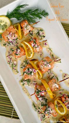 SALMON POPS WITH PIQUANT DILL SAUCE ~ This salmon dish couldn& be simpler or quicker to prepare, yet it is deceptively impressive in flavour and appearance. This versatile salmon recipe, can be served as an appetizer or added to your favourite salad. Salmon Recipes, Fish Recipes, Seafood Recipes, Appetizer Recipes, Cooking Recipes, Healthy Recipes, Seafood Appetizers, Light Appetizers, Seafood Salad