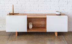 Drilling into walls isn't for everyone, but that doesn't mean you can't have the LAX series 3X Shelf. Mash's take on the credenza sits console style and has just the right amount of space to store eve
