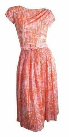 "Bought from the fabulous Angela Petraline and never wore, so passing along.  Her pics. 1960s pink plaid jersey nylon dress with pleated waist, self belt, gathered at left shoulder. Back metal zip. No flaws.  measures  38"" bust, 28"" waist, 42"" hips, 16"" bodice, 40"" long  $45+ship from USA"