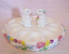 Vintage Ceramic Bunny Rabbit Egg Plate and Salt & Pepper Pastel Roses Floral Spring Easter Serving Platter Tray by VintageChicPleasures on Etsy