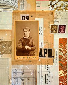 Paper collage with vintage papers and photo by Carin Anderson