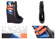 Could you imagine a super comfortable black leather bootie that mixes two big zippers on the side, coral straps and a metallic blue back? Well, you don't have to imagine it anymore, cause Tisífone is here now. This awesome shoe with an open toe and her wide wedge will let you speechless, so you better be ready!   ONLINE STORE: bymareshoes.com
