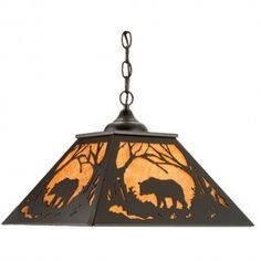 Bear At Dawn Square Pendant Light