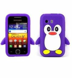Penguin Silicone student kids Case Cover For Samsung Galaxy Y S5360 / Purple $4.99