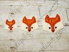 Fox Face Feltie Set of Applique Embroidery Designs INSTANT DOWNLOAD for DIY projects, from Designed by Geeks. Use any embroidery machine - Brother, Viking, Janome, Bernina, Pfaff, Singer - to stitch this design.  This is a fox face feltie in the hoop design, perfect for clippies! (This is not a patch or finished item. This listing is for the embroidery file only.)