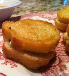 Baked mini-Grilled Cheese Sandwiches - serve with marinara sauce