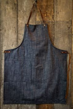 Stanley & Sons Apron with Leather Straps Selvage Cone Mills Striped Denim Shop Apron, Restaurant Uniforms, Gardening Apron, Organic Gardening, Work Aprons, Leather Apron, Leather Belts, Apron Designs, Aprons For Men