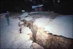 Another photo of the damage done on Summit Road from the 1989 SF Bay Area earthquake.  The epicenter of the quake was in this area of the Santa Cruz Mountains.
