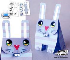 paper cutting templates | Easy No-Glue CUT and FOLD BUNNY | krokotak