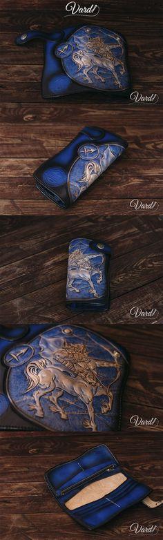 Sagittarius – Custom Leather Wallet  Handmade Leather Long wallet for men Biker Leather Wallets, Skull Handcrafted leather wallet, EMBOSS grim reaper Vardi Craft Handmade long leather wallet man, girl vintage gray long wallet