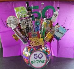 50th Blows Birthday Gift and Decoration.  Love the bubble gum, muscle rub, liquor and other funny gifts.