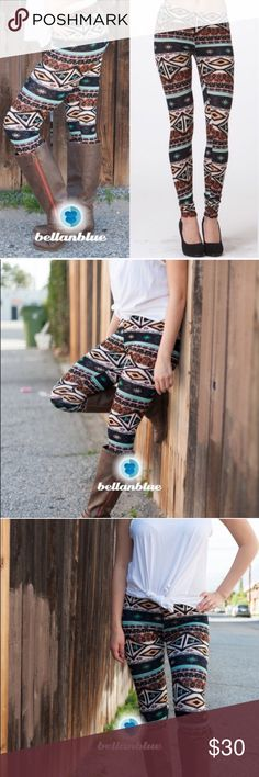 SHAWNA tribal print leggings - BROWN mix Super fun & comfy. Breathable. Perfect for spring.   ‼️️NO TRADE, PRICE FIRM!!! Bellanblue Pants Leggings