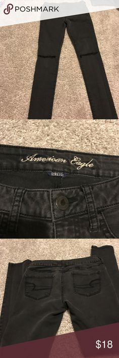 """American Eagle Jeggings """"REPOSH""""Black but look Charcoal grey---super cute with ripped knees. Lil' too small for me my loss your gain. American Eagle Outfitters Jeans Skinny"""