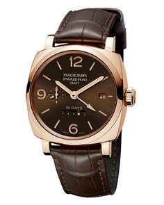 The 45 mm @paneraiofficial Radiomir 1940 10 Days GMT Automatic Oro Rosso (PAM00624 with brown dial/strap in rose gold) features a date window, day/night indicator, linear power-reserve indicator, small seconds and a second time zone – indicated with a central arrow hand; it contains the automatic movement, Caliber P.2003/10.  Read more at: http://www.watchtime.com/wristwatch-industry-news/watches/4-new-panerai-radiomir-1940-watches-debut-in-hong-kong/ #panerai #watchtime #menswatches…