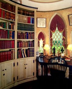 Curved Bookcase + Gothic Window