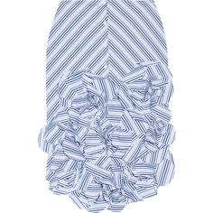 Johanna Ortiz Emma ruffled striped cotton-poplin midi skirt (14.783.905 IDR) ❤ liked on Polyvore featuring skirts, blue, blue ruffle skirt, blue midi skirt, below the knee skirts, stripe skirt and flouncy skirt
