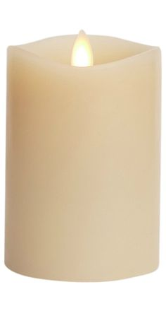 "Luminara Flameless Candle: 360 Degree Top, Vanilla Scented Moving Flame Candle with Timer (4"" Ivory)"