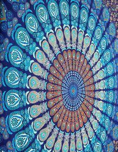 Blue Dorm Mandala Tapestry Tapestries Wall Hanging, Bohemian Wall Decor Tapestry