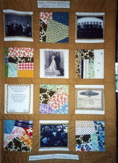 Golden Wedding Anniversary Quilt, using fabrics from the bride's mother.