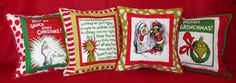 The custom Grinch quilted pillows Kasey C. always wanted... see more @ http://www.whimziequiltz.com