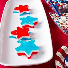 Make red, white, and blue Jell-O stars