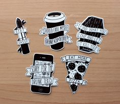 5 x Original Illustration Sticker Set by JoelClements on Etsy https://www.etsy.com/listing/233497791/5-x-original-illustration-sticker-set
