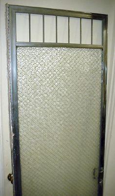 """Antique shower door. Nice early door, 76"""" x 23 3/4"""". Sold"""