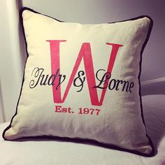 Hand-Painted Anniversary / Wedding Celebration Pillow