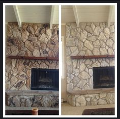 This One Has Alien Faces Too Whitewashing Might Be My Answer Before And Whitewash Stone Fireplacewhite