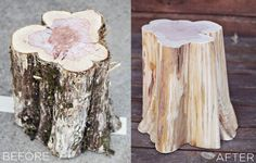 DIY Tree Stump Side Tables How to make tree stump furniture – a beautiful mess (includes link for how to dry out stumps) Tree Stump Side Table, Tree Trunk Table, Side Tables, Log Side Table, Diy Outdoor Furniture, Rustic Furniture, Diy Furniture, Garden Furniture, Furniture Assembly