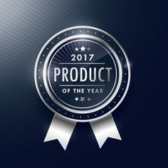 Silver label, best product of the year Free Vector
