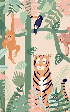 If you are looking for a cute jungle wallpaper mural for your child's bedroom or nursery, check out the Kids Jungle Leaves and Animals Wallpaper Mural. Jungle Wallpaper, Tier Wallpaper, Animal Wallpaper, Nursery Wallpaper, Wallpaper Murals, Wallpaper Ideas, Nature Wallpaper, Jungle Nursery, Jungle Theme