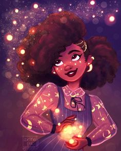 @raqueltraveillustration 's super cute galaxy girl, Jo, for her #redrawjo #drawthisinyourstyle challenge! 🌟💜💫 Congrats on 100K!! 👏♥️ . . .…