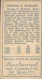1911 T205 Gold Border #127 George McBride Back
