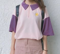 itGirl Shop LEMON SATURN PLANET EMBROIDERY COLORFUL LONG SLEEVE COLLAR POLO T-SHIRT Aesthetic Apparel, Tumblr Clothes, Soft Grunge, Pastel goth, Harajuku fashion. Korean and Japan Style looks