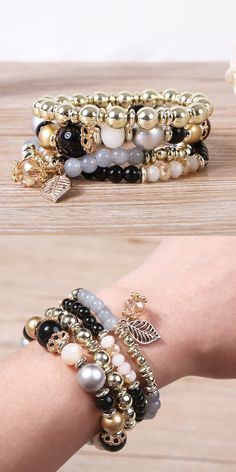 [Newchic Online Shopping] 49% OFF 4 Pcs/set Multilayer Crystal Bead Bracelet for Women